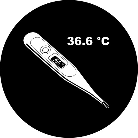 Vector thermometer icon. Shows 36.6 degrees Celsius. Black and white. Simply change.  Vector