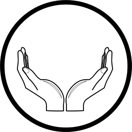 Vector hands icon. Black and white. Simply change. Vector