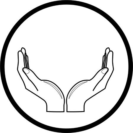 manos logo: Vector manos icono. Blanco y negro. Simplemente el cambio.