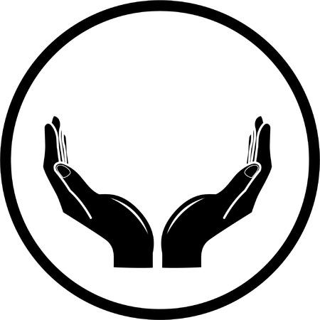 soins mains: Vector mains ic�ne. Noir et blanc. Il suffit de changer.