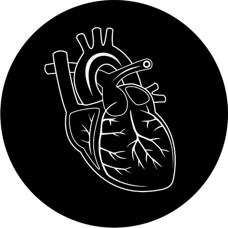 human vein  heartbeat: Vector heart icon. Black and white. Simply change.  Illustration