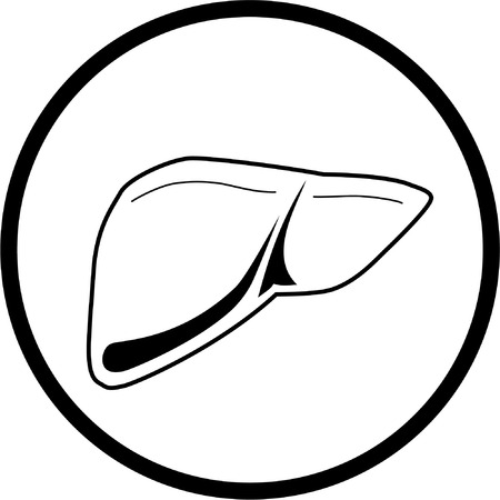 Vector liver icon. Black and white. Simply change.