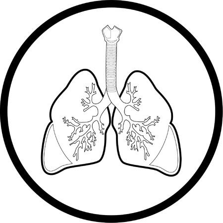 pulmon sano: Vector pulmones icono. Blanco y negro. Simplemente el cambio.