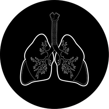 Vector longen pictogram. Zwart en wit. Gewoon veranderen.