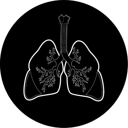 Vector lungs icon. Black  and white. Simply change.  Vector