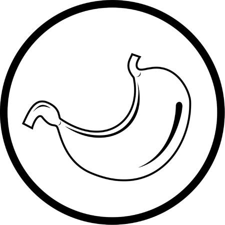 pylorus: Vector stomach icon. Black and white. Simply change.