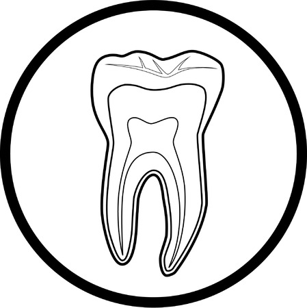 tooth root: Vector tooth icon. Black and white. Simply change. Illustration