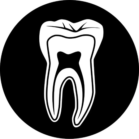 Vector tooth icon. Black and white. Simply change. Illustration