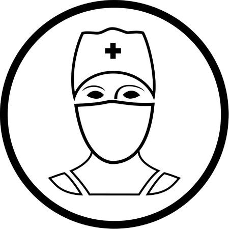chirurgo: Icona Vector medico. In bianco e nero. Semplicemente cambiare.