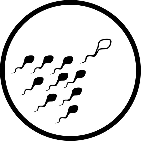 fertility: Vector spermatozoon icon. Black and white. Simply change.