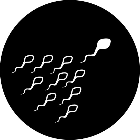 Vector spermatozoon icon. Black and white. Simply change.