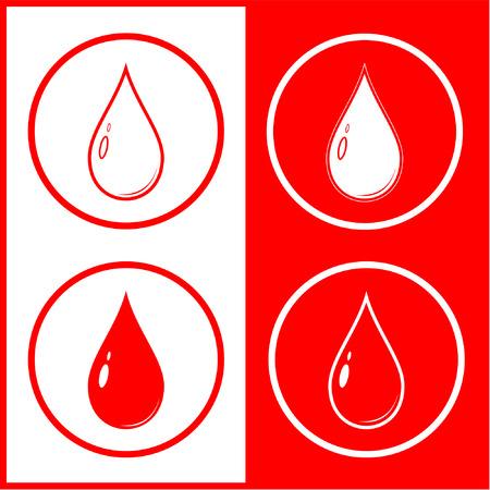 Gota de sangre vector icono. Rojo y blanco. Simplemente el cambio. Foto de archivo - 4312042