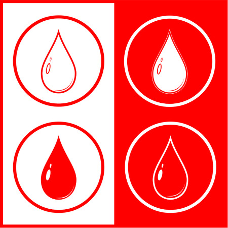 unicoloured: Vector blood drop icon. Red and white. Simply change.