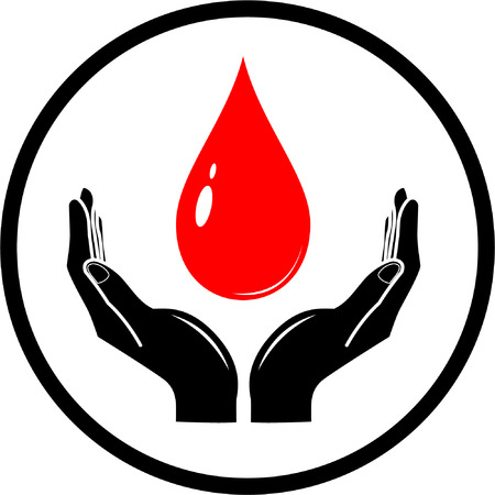 logo medicina: Vector ca�da en manos icono. Negro, rojo y blanco. Simplemente el cambio.