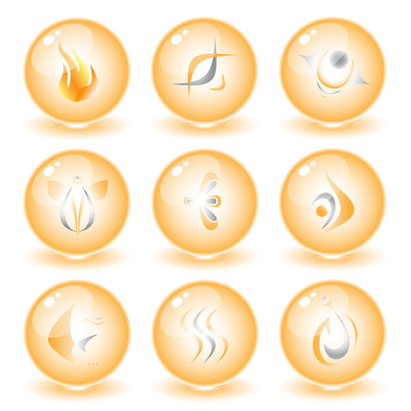 Vector abstract internet icons. Orange set. Simply change. Other abstract icons you can see in my portfolio. Vector
