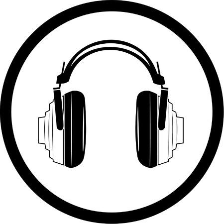 music listening: Vector headphones icon. Black and white. Simply change.