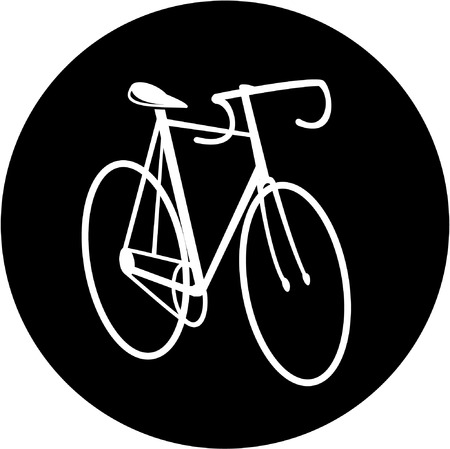 unicoloured: Vector bicycle icon. Black and white. Simply change.