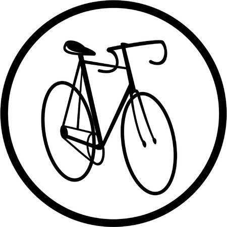Vector bicycle icon. Black and white. Simply change. Vector