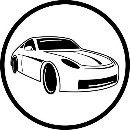 Vector car icon. Black and white. Simply change.