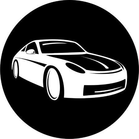 Vector coche icono. Blanco y negro. Simplemente el cambio.