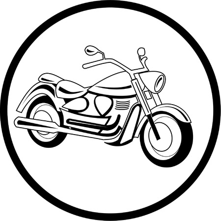 Vector motorcycle icon. Black and white. Simply change.