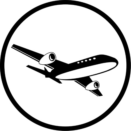 unicoloured: Vector airliner icon. Black and white. Simply change.