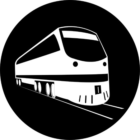 unicoloured: Vector train icon. Black and white. Simply change.