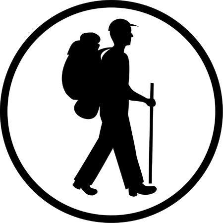 unicoloured: Vector traveller icon. Black and white. Simply change. Illustration