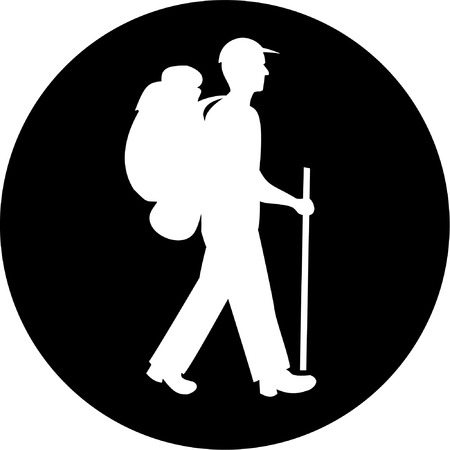 Vector traveller icon. Black and white. Simply change. Vector