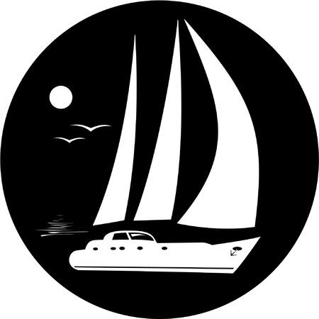 deportes nauticos: Vector yate icono. Blanco y negro. Simplemente el cambio.