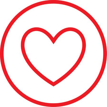 Icona Vector cuore. Rosso e bianco. Semplicemente cambiare. Vettoriali