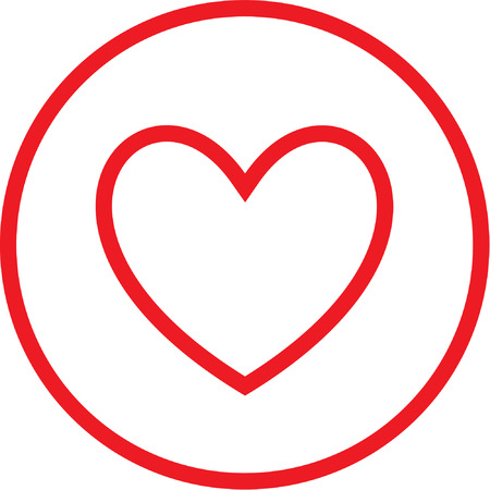 Vector heart icon. Red and white. Simply change.  Vector
