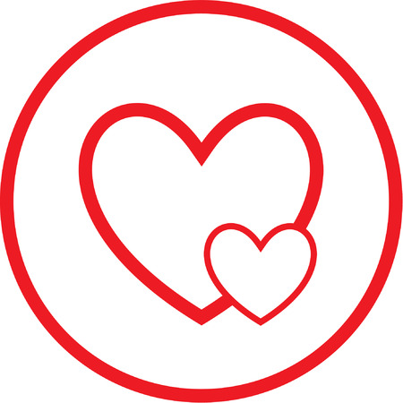 careful: Vector careful heart icon. Red and white. Simply change.