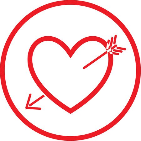 Vector heart and arrow icon. Red and white. Simply change. Stock Vector - 4311959