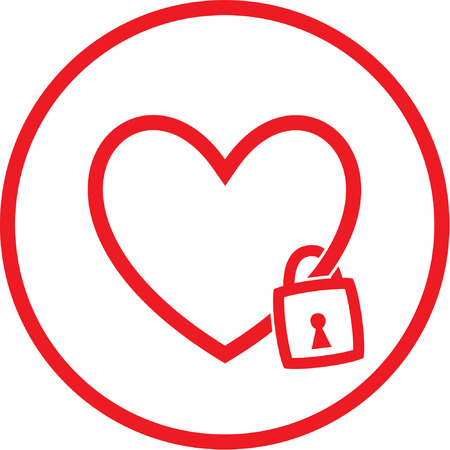 Vector heart and lock icon. Red and white. Simply change.  Vector