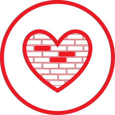 Vector heart and stone wall icon. Red and white. Simply change.