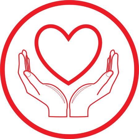 soins mains: Vecteur ic�ne de c?ur et les mains. Rouge et blanc. Il suffit de changer.