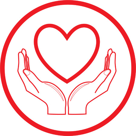 Vector heart and hands icon. Red and white. Simply change.