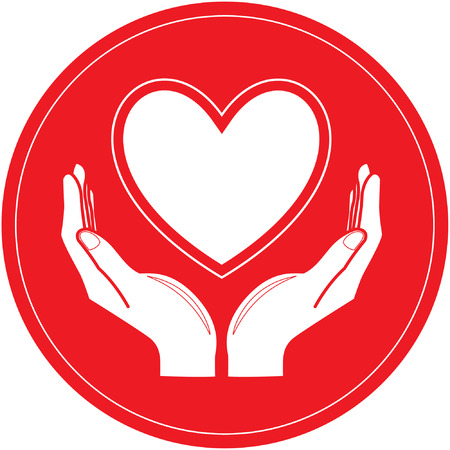 Vector heart and hands icon. Red and white. Simply change. Vector