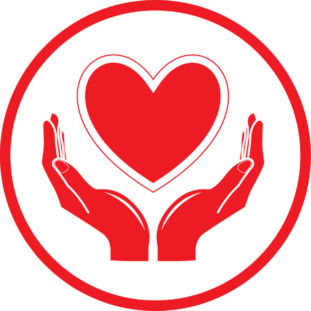 heart in hands: Vector heart and hands icon. Red and white. Simply change.