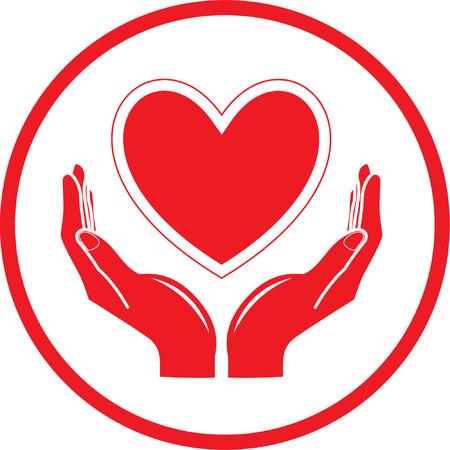 manos: Vector icono de coraz�n y las manos. Rojo y blanco. Simplemente el cambio.