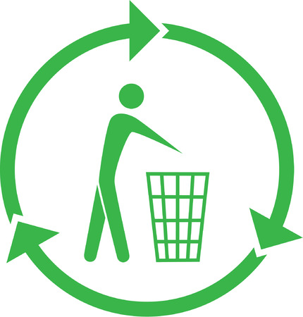 wastepaper basket: Vector recycling bin icon. Green and white. Simply change.