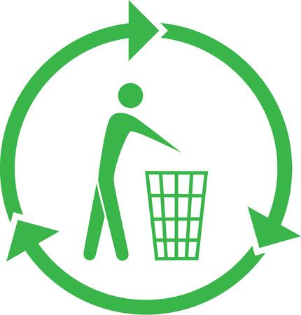afvalbak: Vector recycling bin pictogram. Groen en wit. Gewoon veranderen.