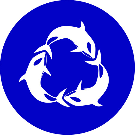 simply: Vector killer whale icon. Blue and white. Simply change.  Illustration
