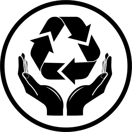 recycle sign: Vector recycle symbol in hands icon. Black and white. Simply change. Illustration