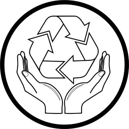 recycle symbol: Vector recycle symbol in hands icon. Black and white. Simply change. Illustration