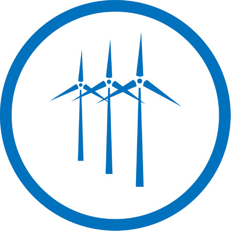 Vector wind turbine icon. Blue and white. Simply change.  Vector