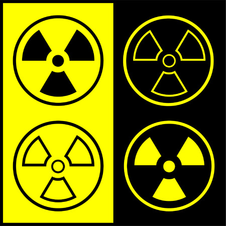 Vector radiation symbol icon. Black and yellow. Simply change.  Vector