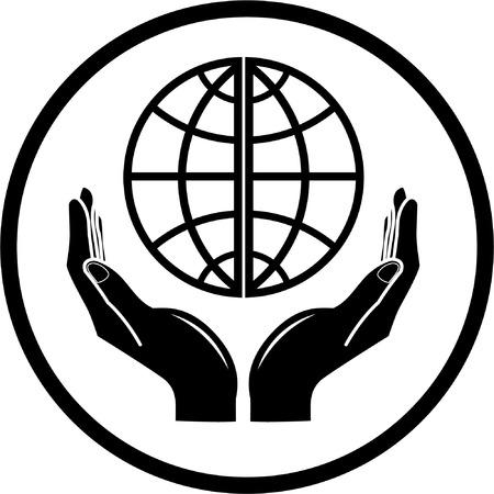 Vector mundo en manos icono. Blanco y negro. Simplemente el cambio.