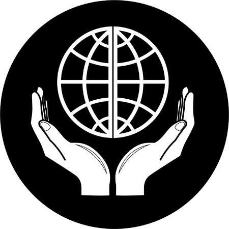Vector globe in hands icon. Black and white. Simply change. Vector